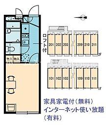 東京都北区浮間5丁目の賃貸アパートの間取り