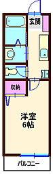 神奈川県横浜市神奈川区六角橋1丁目の賃貸アパートの間取り