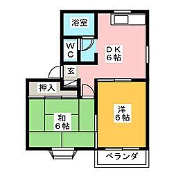 ユーハイツ南城 A棟[2階]の間取り