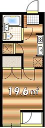 JR中央線 武蔵小金井駅 徒歩7分の賃貸マンション 1階1Kの間取り