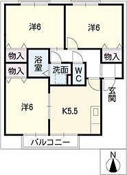 プレミールB棟[1階]の間取り