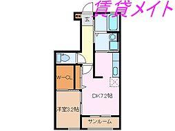 ボワ・リジェールA・B[1階]の間取り