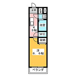 KNOTS SAKURADAI Sta 4階1Kの間取り