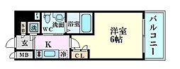 JR東西線 海老江駅 徒歩6分の賃貸マンション 5階1Kの間取り