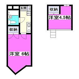 東京都小平市仲町の賃貸アパートの間取り