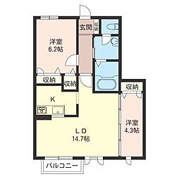 ボー・セジュール1番館[2階]の間取り