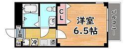 阪急神戸本線 六甲駅 徒歩3分の賃貸マンション 3階1Kの間取り