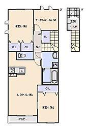 Maison en bois (メゾン オン ボワ)[202号室]の間取り