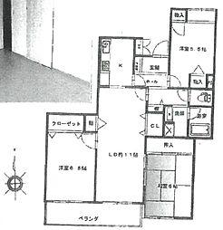 武庫之荘パークハイム[205号室]の間取り