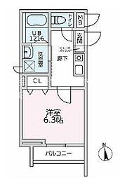 JR中央本線 中野駅 徒歩12分の賃貸マンション 3階1Kの間取り