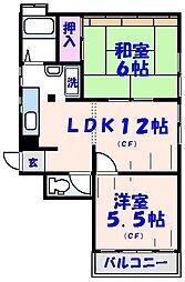 ハピネス本八幡[4階]の間取り
