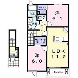 栃木県真岡市長田1丁目の賃貸アパートの間取り