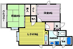 兵庫県神戸市灘区楠丘町5丁目の賃貸マンションの間取り
