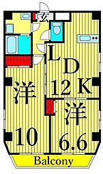 東武伊勢崎線 浅草駅 徒歩11分の賃貸マンション 10階2LDKの間取り