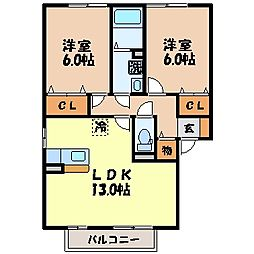 長崎県諫早市貝津町の賃貸アパートの間取り