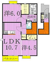 千葉県松戸市串崎南町の賃貸マンションの間取り