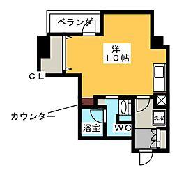 パークアクシス新栄 11階ワンルームの間取り