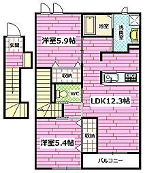 広島県広島市安佐南区東野3丁目の賃貸アパートの間取り