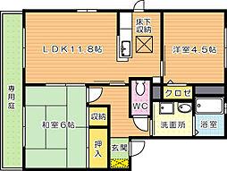 リーベンコート B棟[1階]の間取り