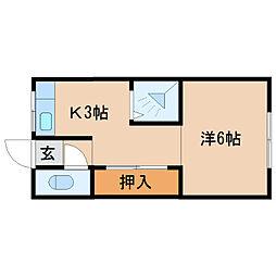 杭の瀬アパート[7号室]の間取り