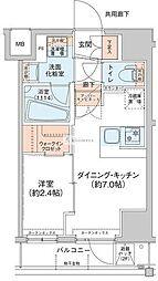 アジールコート新高円寺(アジールコートシンコウエンジ) 3階1DKの間取り