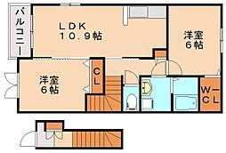 福岡県飯塚市南尾の賃貸アパートの間取り