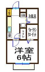サニーハイツII[2D号室]の間取り