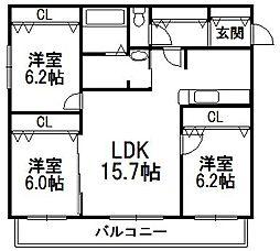 北海道札幌市豊平区西岡二条2丁目の賃貸マンションの間取り