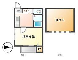 愛知県名古屋市昭和区菊園町5の賃貸アパートの間取り