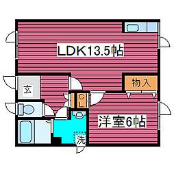 ルースキーAKEMI[201号室]の間取り