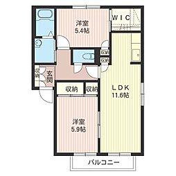 グレイスタウンD[2階]の間取り