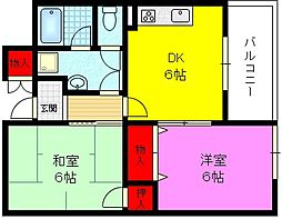 大阪府大東市新田西町の賃貸マンションの間取り
