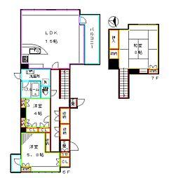 JR総武線 大久保駅 徒歩3分の賃貸マンション 7階3LDKの間取り
