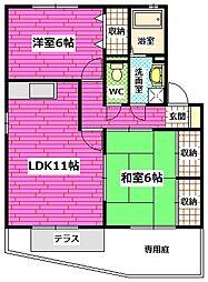 広島県安芸郡熊野町中溝4丁目の賃貸アパートの間取り