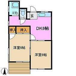 丸徳荘 B棟[1階]の間取り
