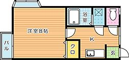 福岡県北九州市八幡西区木屋瀬4丁目の賃貸アパートの間取り
