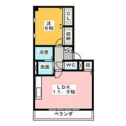 愛知県名古屋市西区上橋町の賃貸マンションの間取り