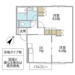 セジュール富士崎[202号室号室]の間取り