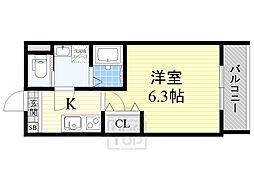 Serie太子橋 4階1Kの間取り