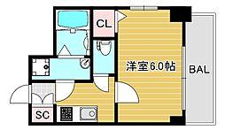 エスリード大阪ドームセルカ 10階1Kの間取り