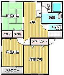 サニープレイス東 A棟[201号室]の間取り