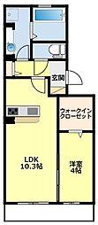 愛知環状鉄道 愛環梅坪駅 徒歩6分の賃貸アパート 1階1LDKの間取り