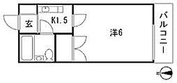 ホワイトハイツ山本[1階]の間取り