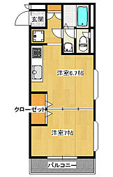峰2丁目 1DK マンション[2階]の間取り