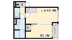 T.A御崎町1丁目 3階1LDKの間取り