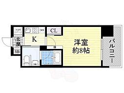 エスライズ北堀江スワン 5階1Kの間取り