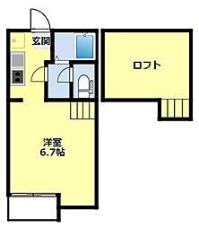 愛知環状鉄道 末野原駅 徒歩11分の賃貸アパート 1階1Kの間取り