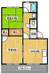 大阪府高石市綾園2の賃貸マンションの間取り