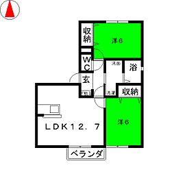 セレーノ・平田[1階]の間取り