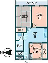 小房荘苑[4階]の間取り